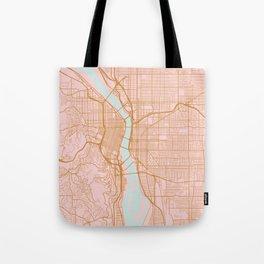Pink and gold Portland map, Oregon Tote Bag