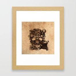 Vintage Steampunk Skull Brown Metal Gears Texture Framed Art Print