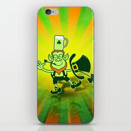 Leprechaun Balancing a Glass of Bear on his Head iPhone Skin