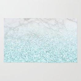 She Sparkles - Turquoise Sea Glitter Marble Rug