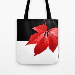 Red Leaf With Black & White Tote Bag