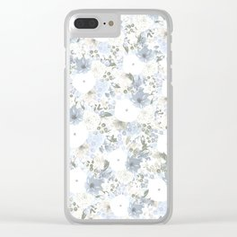 Light Blue Floral Pattern Clear iPhone Case