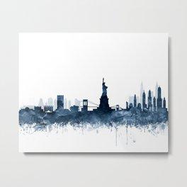 New York City Skyline  Blue Watercolor by zouzounioart Metal Print