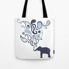 Multi-Blue Paisley Elephant Pattern Design Tote Bag
