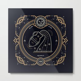 Aquarius Zodiac Golden White on Black Background Metal Print