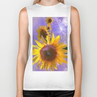 sunflower Biker Tanks featuring Sunflower4 by Regan's World