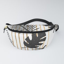 chic black glitter palms on white with golden stripes Fanny Pack