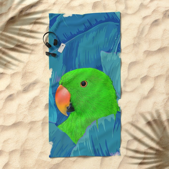 Parrot with banana leaves Beach Towel