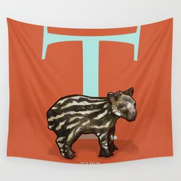 T is for Tapir: Under Appreciated Animals™ ABC nursery decor bright red unusual animals Wall Tapestry