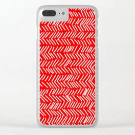 Scarlet Herringbone Lines Clear iPhone Case