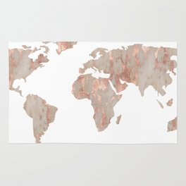 World map rugs society6 world map marble rose gold shimmer rug gumiabroncs Images