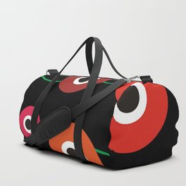 Red poppy circle on black Duffle Bag