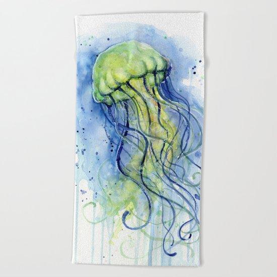 Jellyfish Watercolor Beautiful Sea Creatures Beach Towel