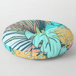 Tropical leaves blue Floor Pillow