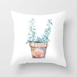 Succulents Watercolor Painting Throw Pillow