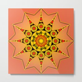 Coral sunflower abstract  Metal Print