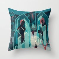 ice Throw Pillows featuring Ice age by Reno Nogaj