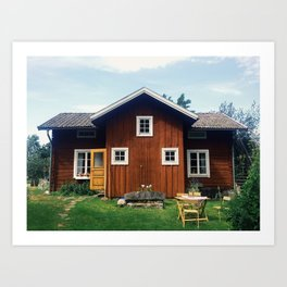 Hus I Dalarna Art Print