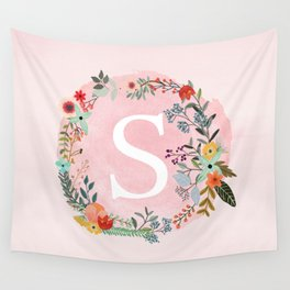 Flower Wreath with Personalized Monogram Initial Letter S on Pink Watercolor Paper Texture Artwork Wall Tapestry