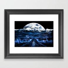 Road to Eternity (blue vintage moon mountain) Framed Art Print