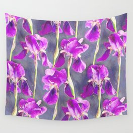 Simple Iris Pattern in Warm Magenta Wall Tapestry