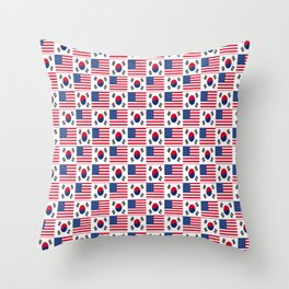 Mix of flag: USA and South Korea Throw Pillow