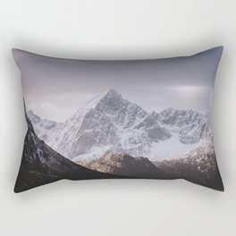 Soft Winter Light over the Mountains on the Lofoten Rectangular Pillow