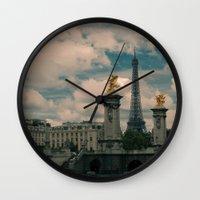 eiffel Wall Clocks featuring Eiffel by Esteban Calderón
