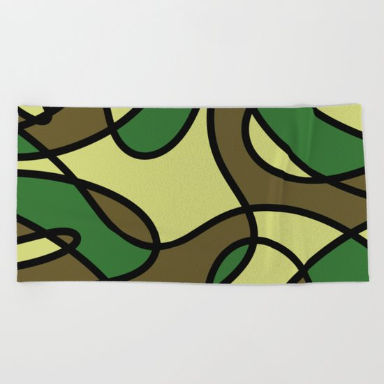 Camo Curves - Abstract, camouflage coloured pattern Beach Towel