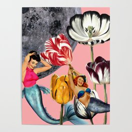 Mermaid Floral with moon Poster