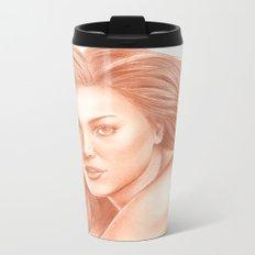 Woman Portrait 3 Metal Travel Mug