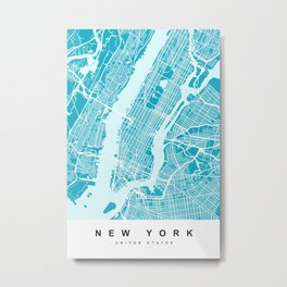 New York Map |Aqua| More Colors, Review My Collections Metal Print