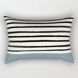 Dusty Blue x Stripes Rectangular Pillow