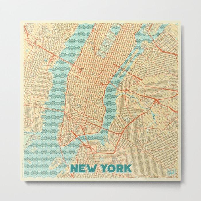 New York Map Retro Metal Print
