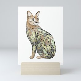Serval Cat in Lotus Flower Tattoo Mini Art Print