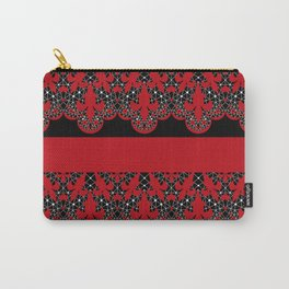 Red vintage lace on black background . Carry-All Pouch