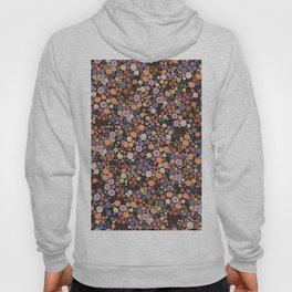 473-Fall autumn colors with ditsy cute floral pattern black background Hoody