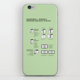 Buchbinden – Merkmale Broschur und Buch im Detail (in German) iPhone Skin