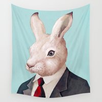 rabbit Wall Tapestries featuring Rabbit by Animal Crew
