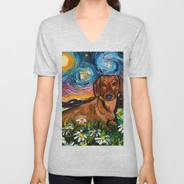 Brown Short Hair Dachshund Night 2 Unisex V-Neck