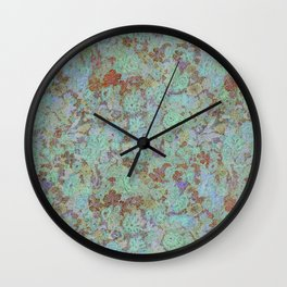 Flowers Under - Cool Colors Wall Clock