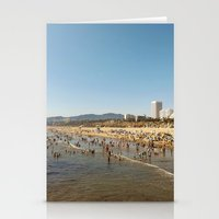 santa monica Stationery Cards featuring Santa Monica  by Audrey Mourgues