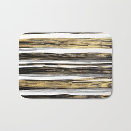 Geometric elegant black silver gold brushstrokes painting Bath Mat