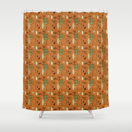 Orange Retro Hawaiian Tiki Hawaii Beach Shower Curtain