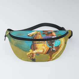 poloplayer abstract turquoise ochre Fanny Pack