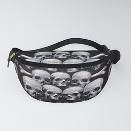 Skulls and Filigree - Black and White Fanny Pack