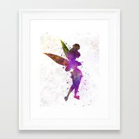 tinker bell Framed Art Prints featuring Tinker bell in watercolor by Paulrommer