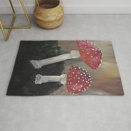 Magical Toadstools, mushrooms, oil painting by Luna Smith, LuArt Gallery Rug