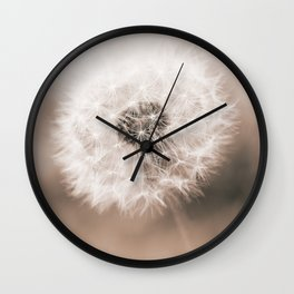 Spring Dandelion in Sepia Wall Clock