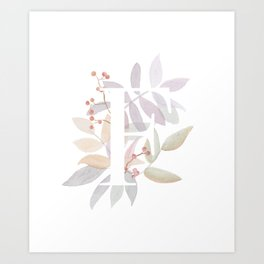 Rustic Watercolor Monogram - Initial F - Farmhouse Typography - Wreath Design Art Print